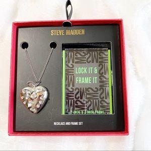Steve Madden silver tone heart locket pendant set